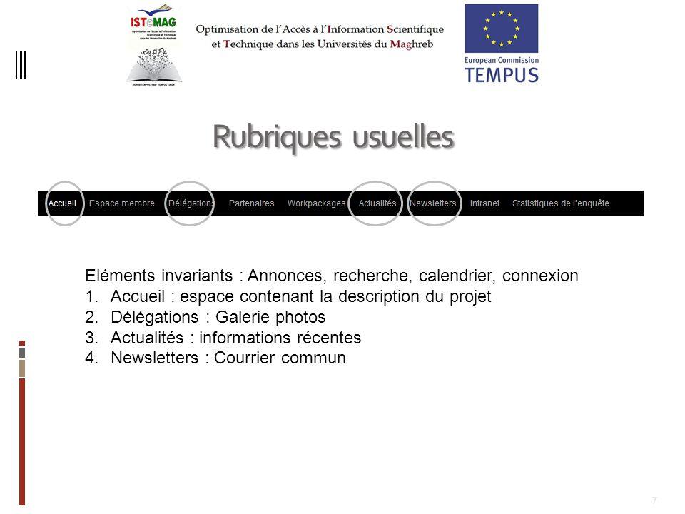 Rubriques usuelles Eléments invariants : Annonces, recherche, calendrier, connexion. Accueil : espace contenant la description du projet.