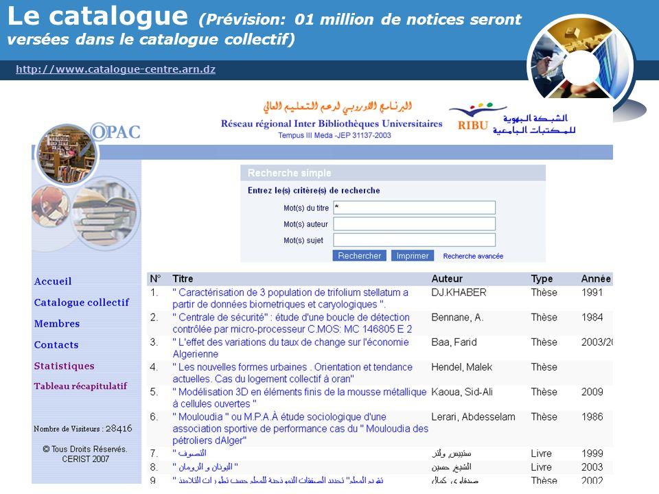Le catalogue (Prévision: 01 million de notices seront versées dans le catalogue collectif)