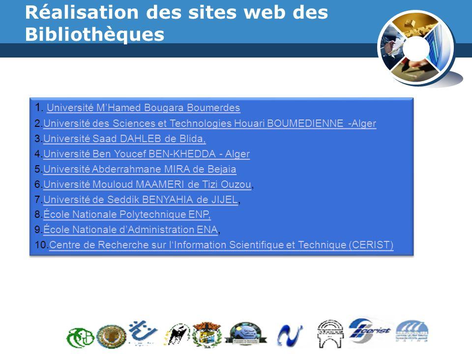 Réalisation des sites web des Bibliothèques