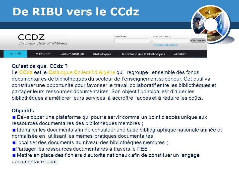 De RIBU vers le CCdz Qu'est ce que CCdz