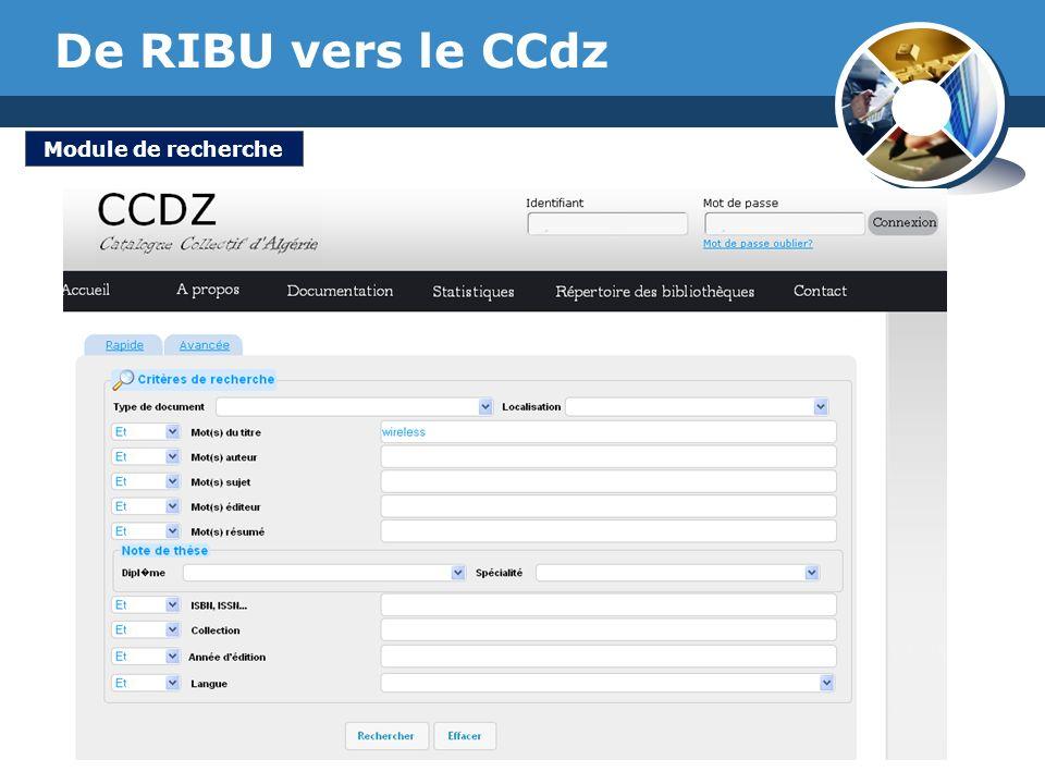 De RIBU vers le CCdz Module de recherche www.thmemgallery.com