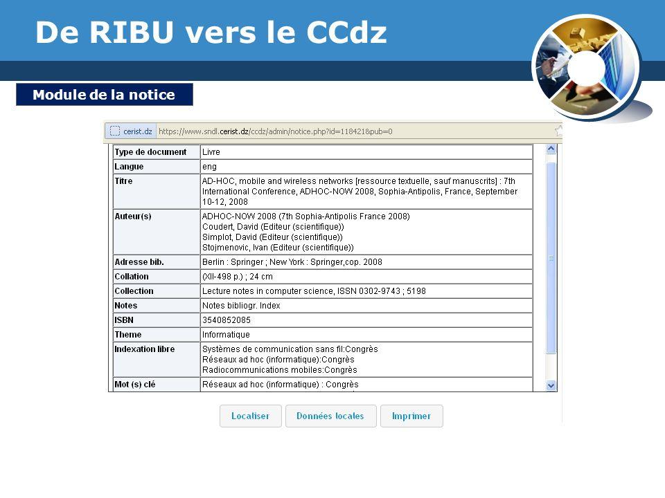 De RIBU vers le CCdz Module de la notice www.thmemgallery.com
