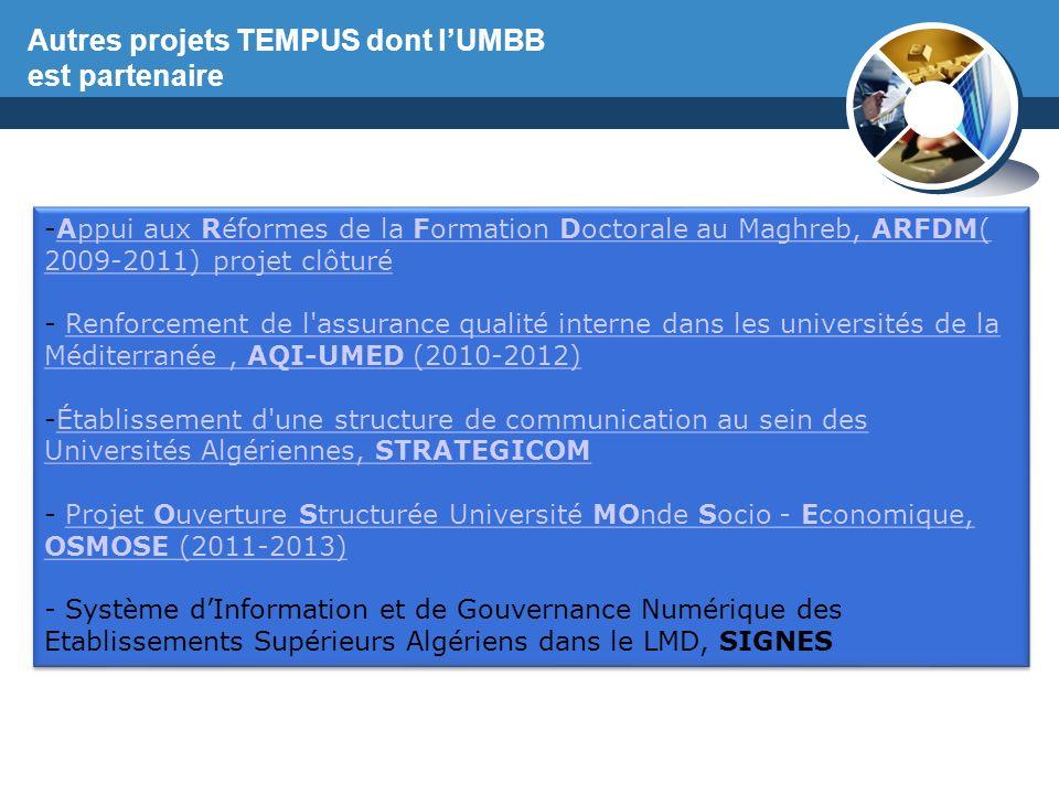 Autres projets TEMPUS dont l'UMBB est partenaire