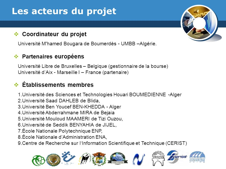 Les acteurs du projet Coordinateur du projet Établissements membres