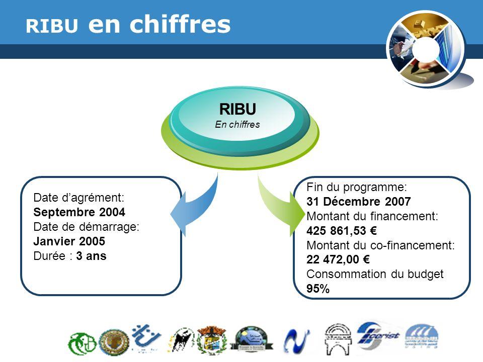 RIBU en chiffres RIBU Fin du programme: 31 Décembre 2007