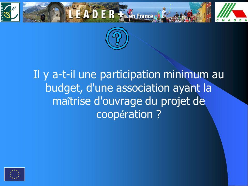 Il y a-t-il une participation minimum au budget, d une association ayant la maîtrise d ouvrage du projet de coopération