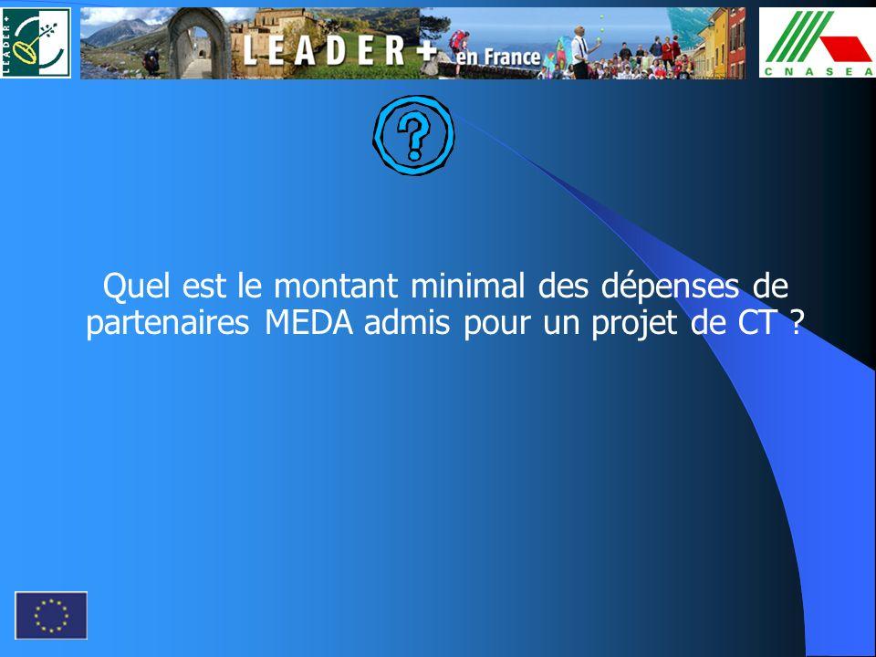 Quel est le montant minimal des dépenses de partenaires MEDA admis pour un projet de CT