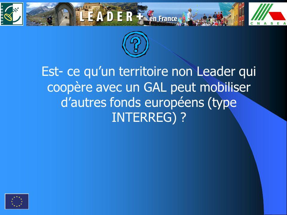 Est- ce qu'un territoire non Leader qui coopère avec un GAL peut mobiliser d'autres fonds européens (type INTERREG)