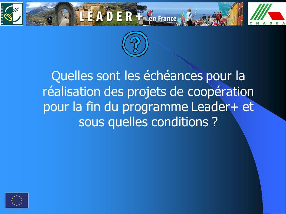 Quelles sont les échéances pour la réalisation des projets de coopération pour la fin du programme Leader+ et sous quelles conditions