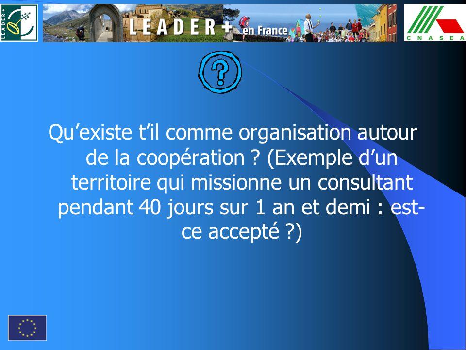 Qu'existe t'il comme organisation autour de la coopération