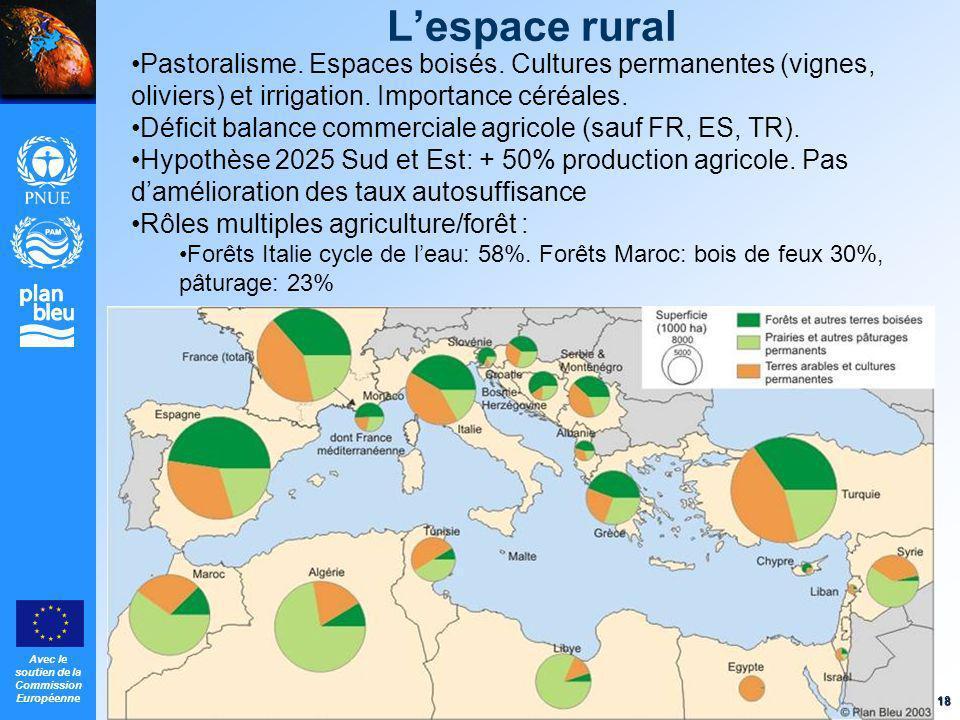 L'espace rural Pastoralisme. Espaces boisés. Cultures permanentes (vignes, oliviers) et irrigation. Importance céréales.