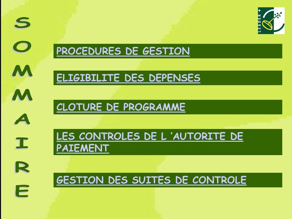 SOMMAIRE PROCEDURES DE GESTION ELIGIBILITE DES DEPENSES