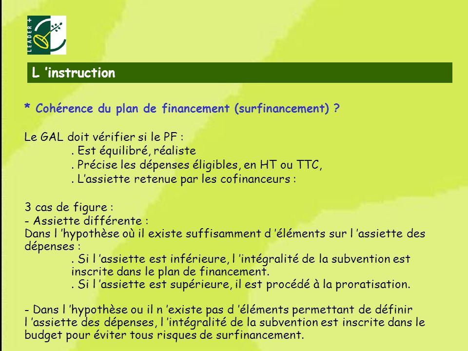 L 'instruction * Cohérence du plan de financement (surfinancement)