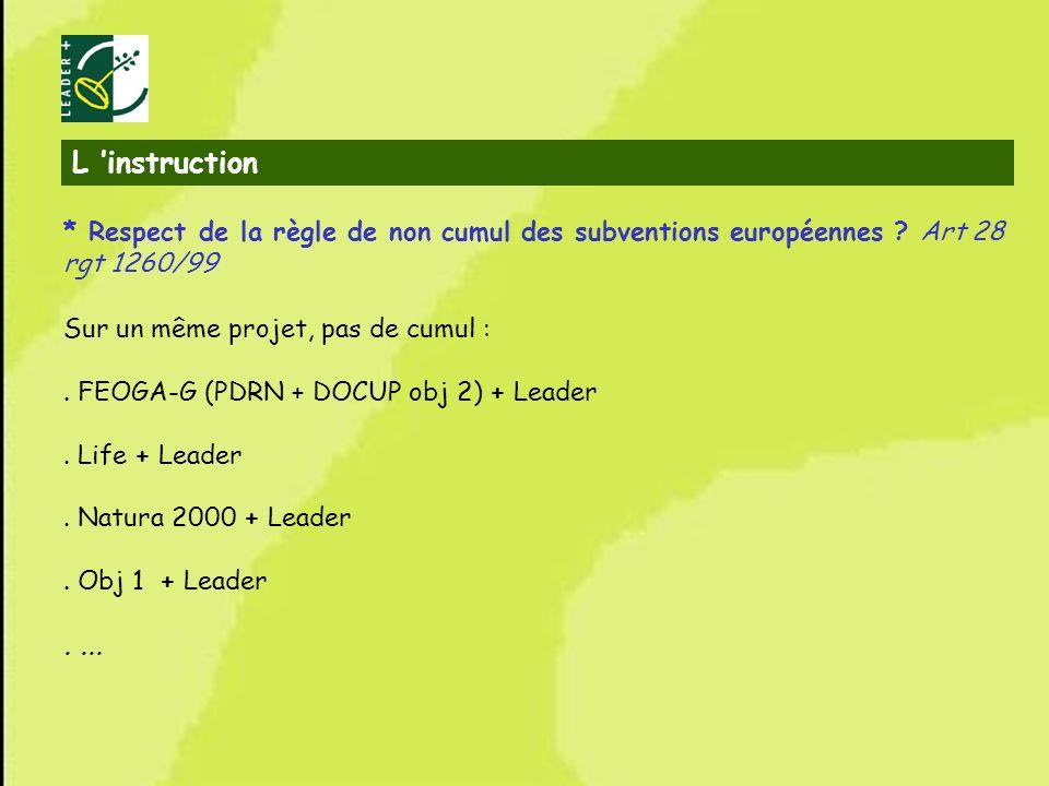 L 'instruction * Respect de la règle de non cumul des subventions européennes Art 28 rgt 1260/99.