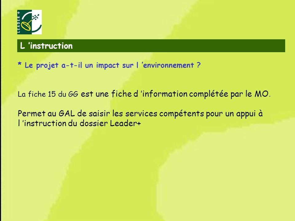 L 'instruction * Le projet a-t-il un impact sur l 'environnement La fiche 15 du GG est une fiche d 'information complétée par le MO.