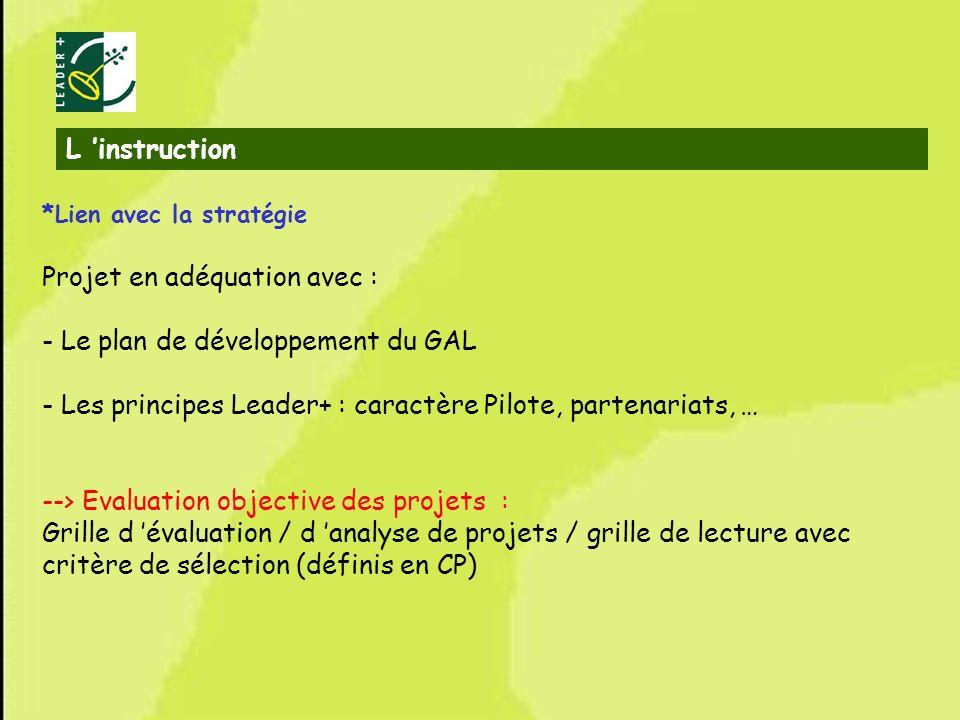 Projet en adéquation avec : - Le plan de développement du GAL