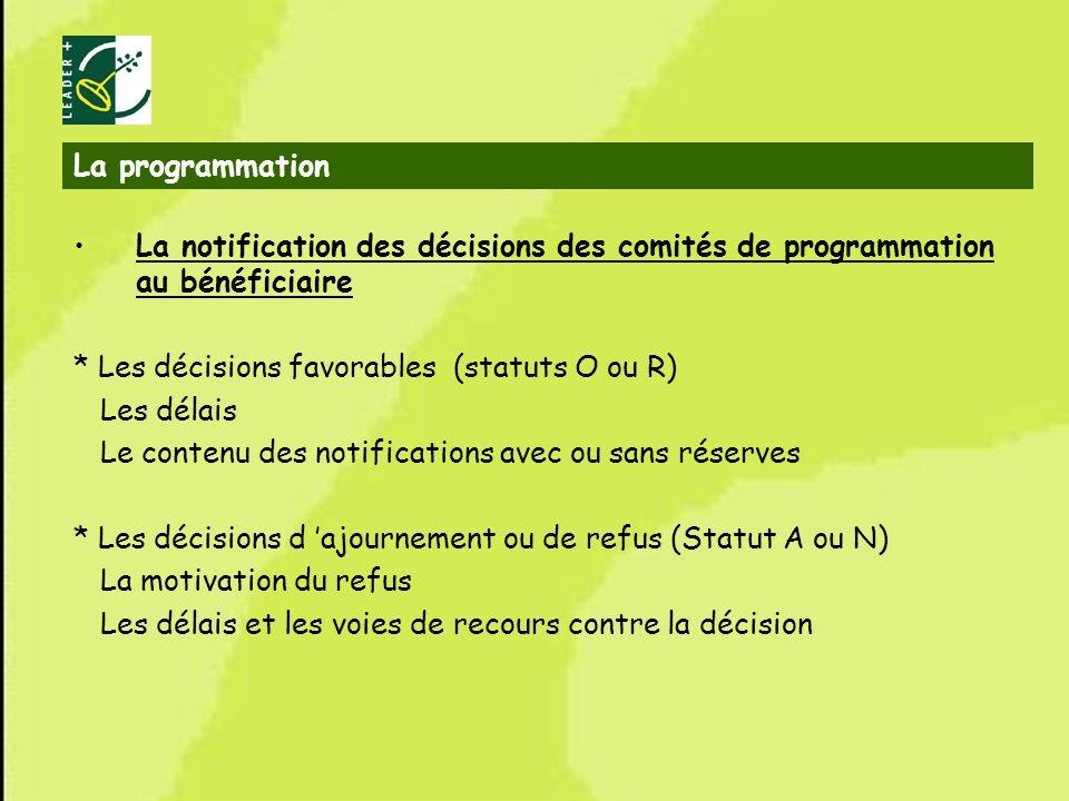 La programmation La notification des décisions des comités de programmation au bénéficiaire. * Les décisions favorables (statuts O ou R)