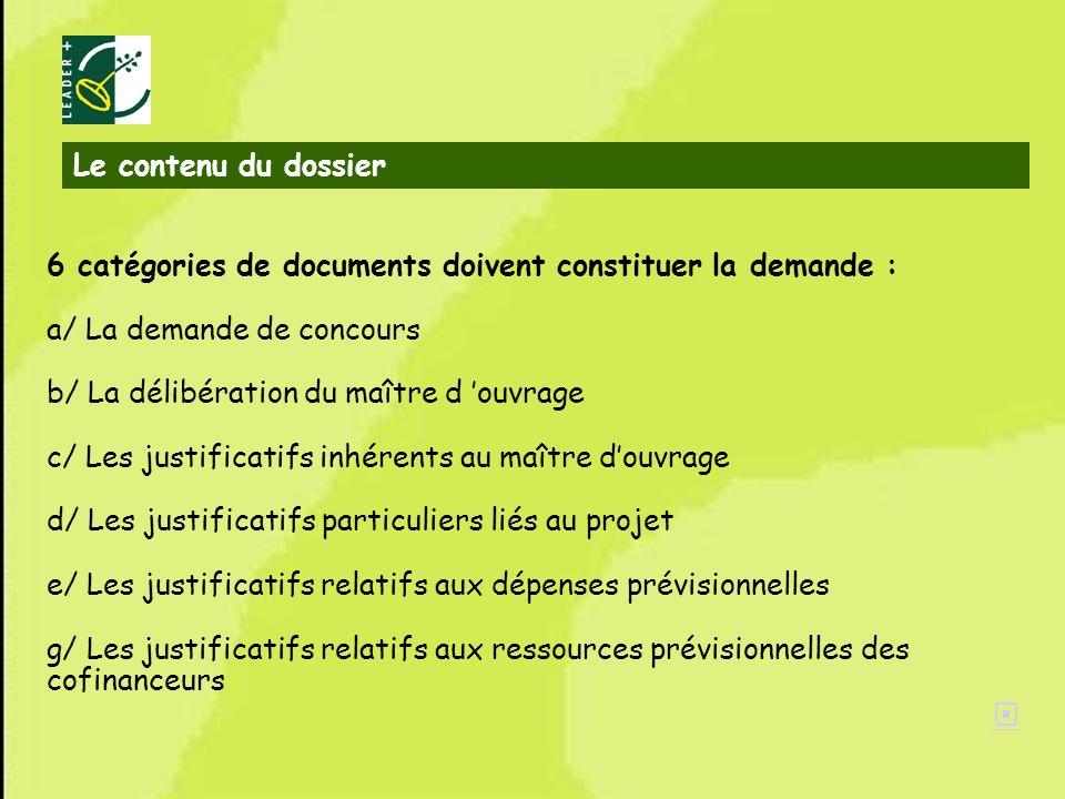 Le contenu du dossier 6 catégories de documents doivent constituer la demande : a/ La demande de concours.