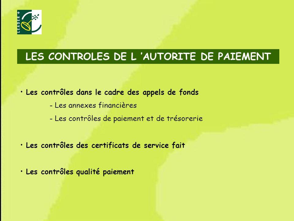 LES CONTROLES DE L 'AUTORITE DE PAIEMENT