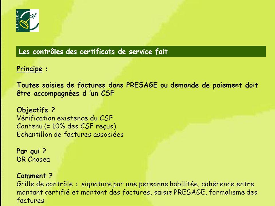 Les contrôles des certificats de service fait