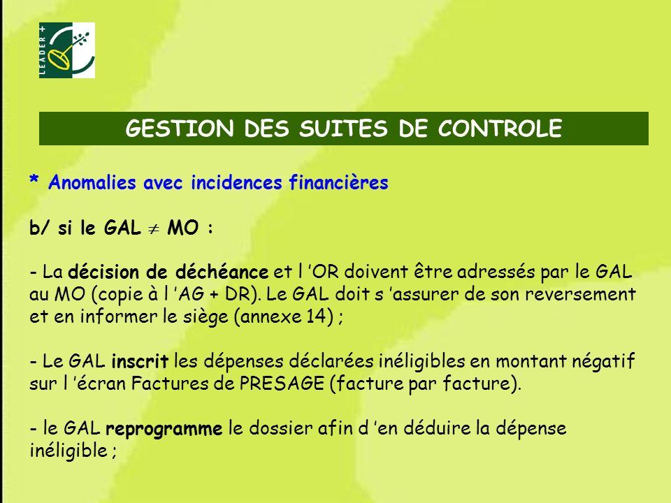 GESTION DES SUITES DE CONTROLE