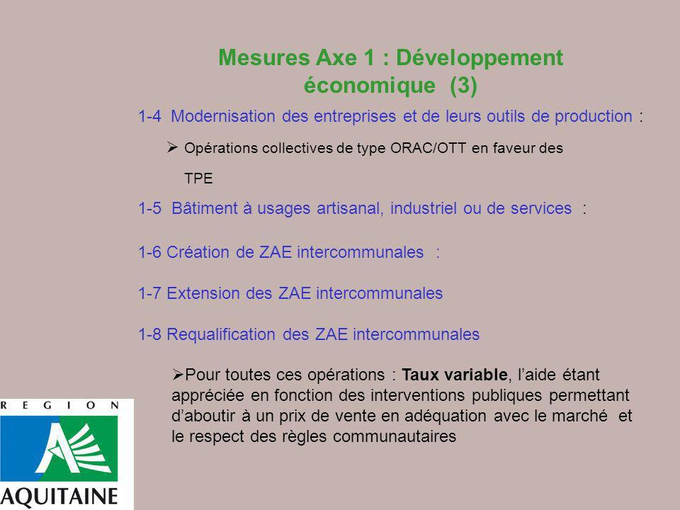 Mesures Axe 1 : Développement économique (3)