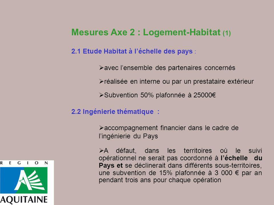 Mesures Axe 2 : Logement-Habitat (1)