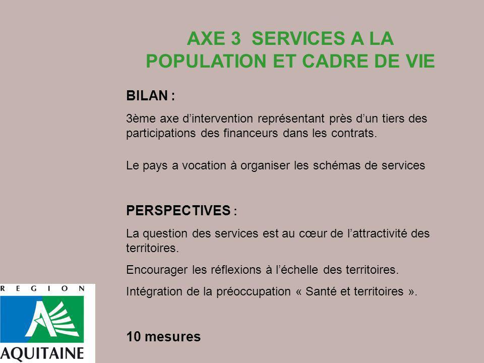 AXE 3 SERVICES A LA POPULATION ET CADRE DE VIE