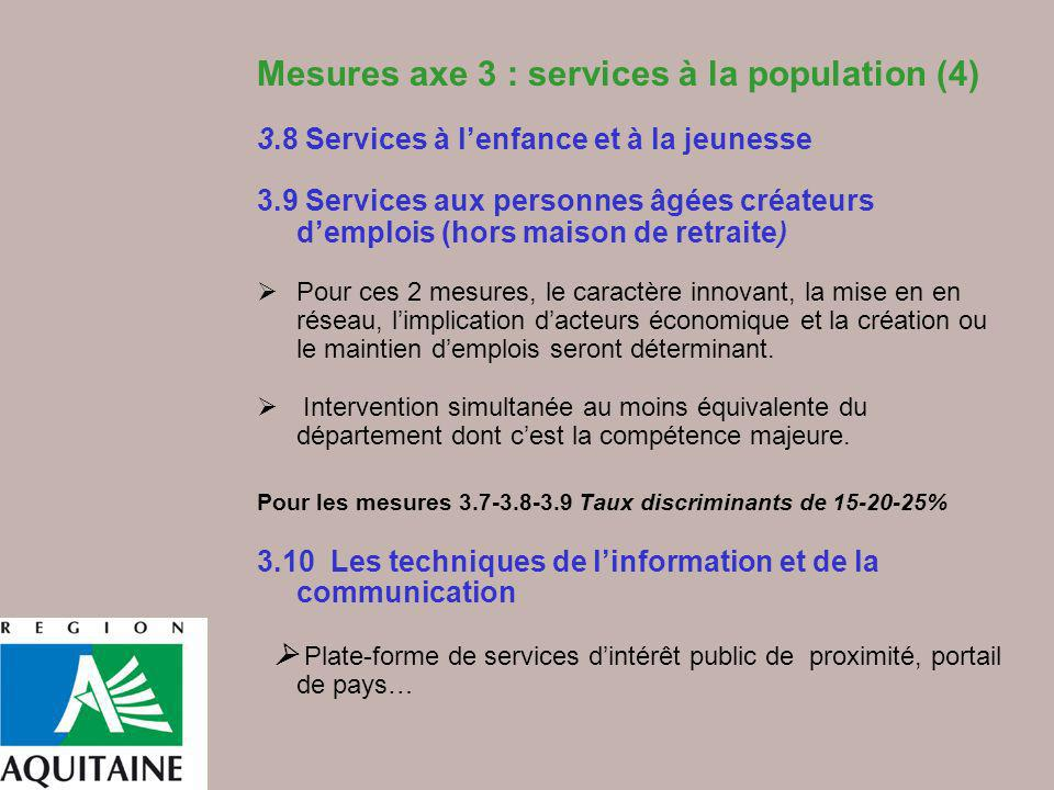 Mesures axe 3 : services à la population (4)