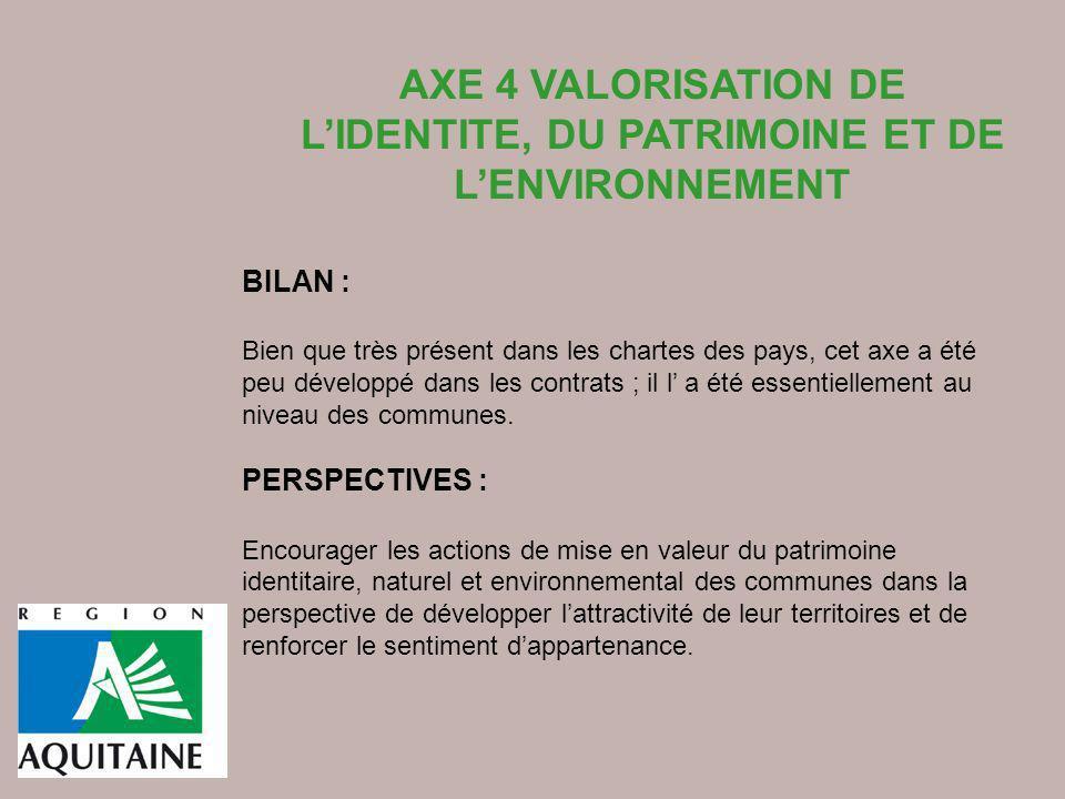 AXE 4 VALORISATION DE L'IDENTITE, DU PATRIMOINE ET DE L'ENVIRONNEMENT