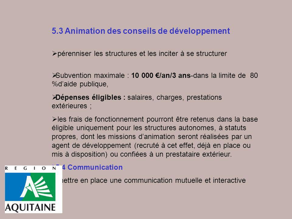 5.3 Animation des conseils de développement