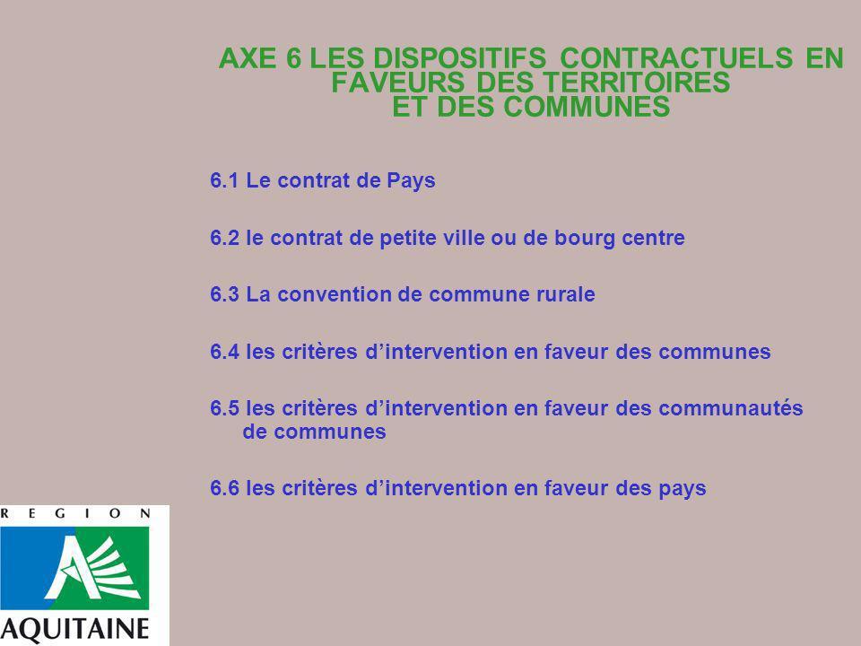 AXE 6 LES DISPOSITIFS CONTRACTUELS EN FAVEURS DES TERRITOIRES ET DES COMMUNES