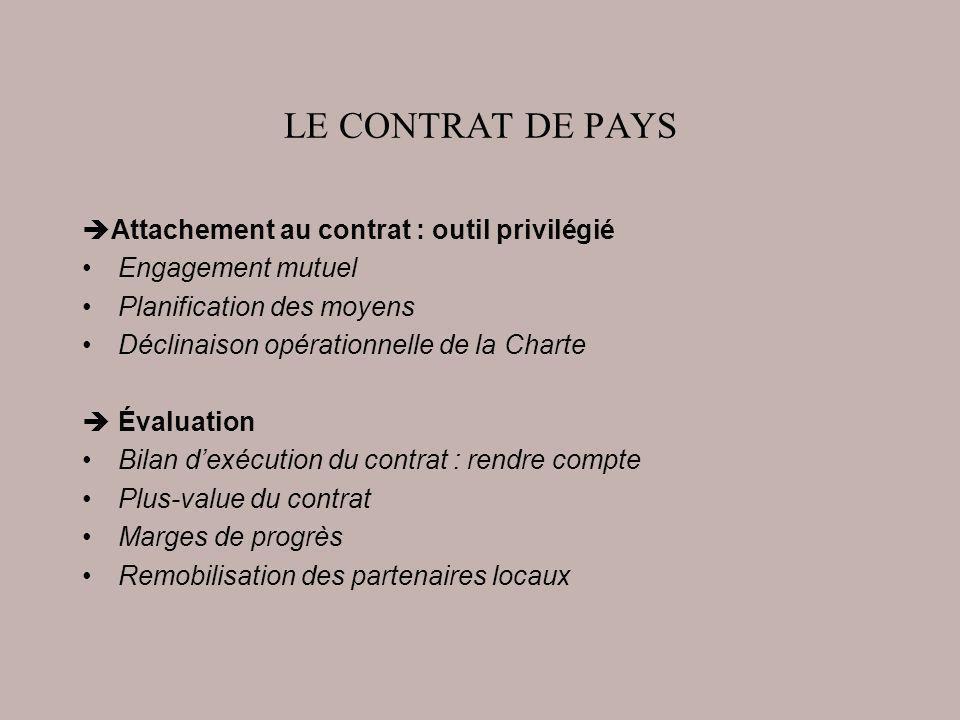 LE CONTRAT DE PAYS Attachement au contrat : outil privilégié