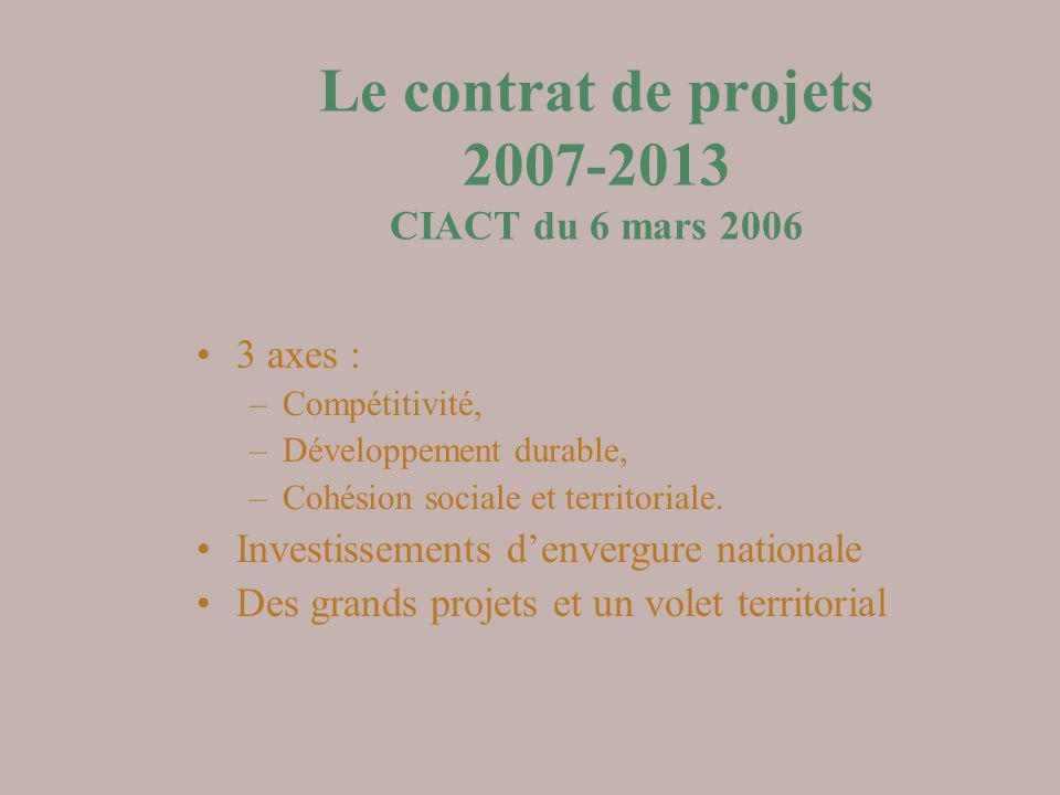 Le contrat de projets 2007-2013 CIACT du 6 mars 2006