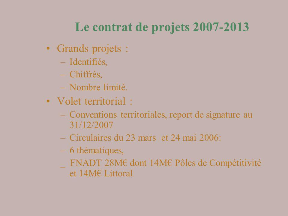 Le contrat de projets 2007-2013 Grands projets : Volet territorial :