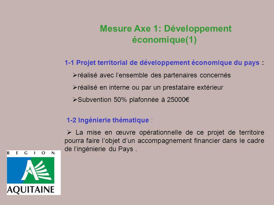 Mesure Axe 1: Développement économique(1)
