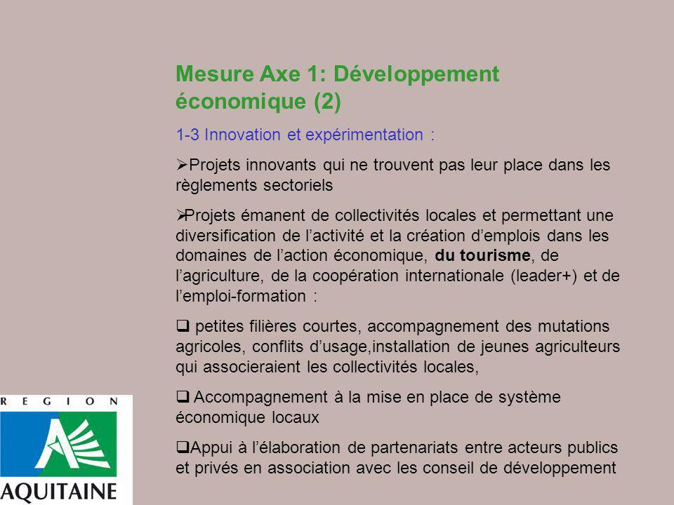 Mesure Axe 1: Développement économique (2)
