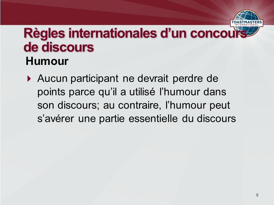 Règles internationales d'un concours de discours
