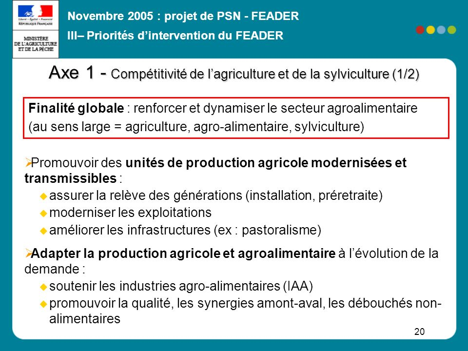 Axe 1 - Compétitivité de l'agriculture et de la sylviculture (1/2)