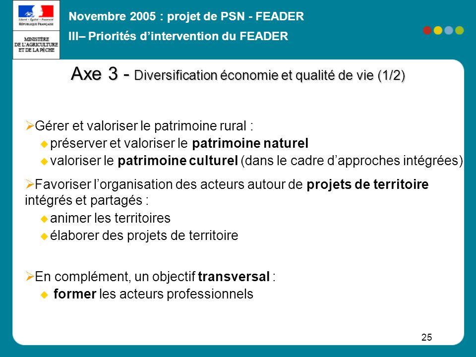 Axe 3 - Diversification économie et qualité de vie (1/2)