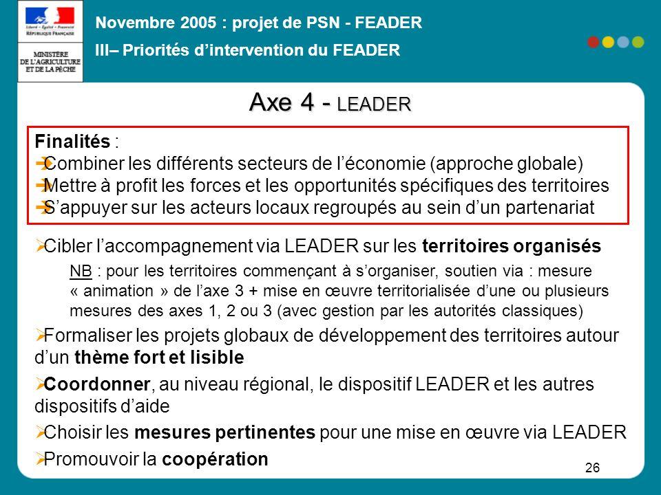 Axe 4 - LEADER Finalités :