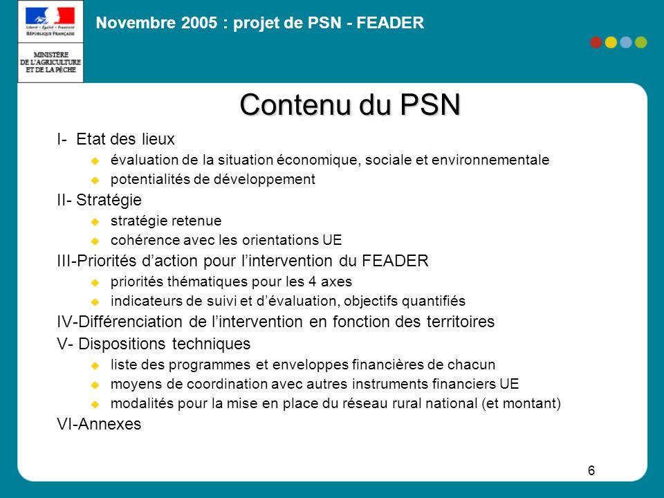 Contenu du PSN I- Etat des lieux II- Stratégie