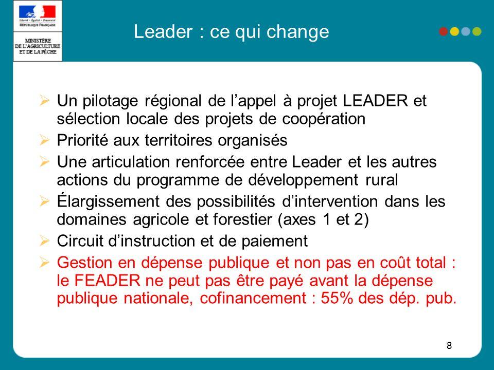 Leader : ce qui change Un pilotage régional de l'appel à projet LEADER et sélection locale des projets de coopération.