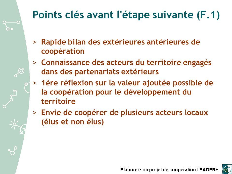 Points clés avant l étape suivante (F.1)