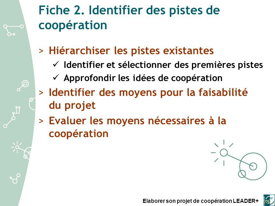 Fiche 2. Identifier des pistes de coopération