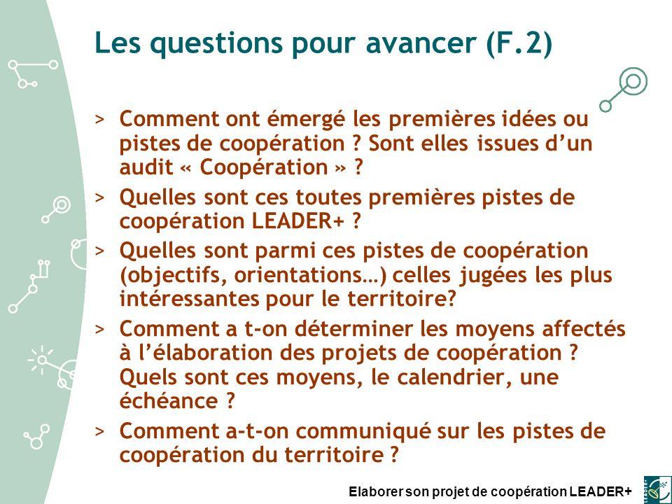 Les questions pour avancer (F.2)