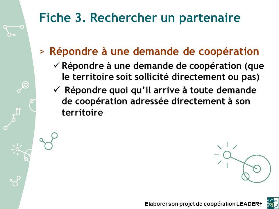 Fiche 3. Rechercher un partenaire