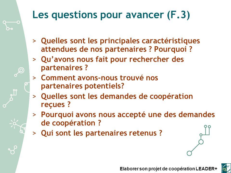 Les questions pour avancer (F.3)