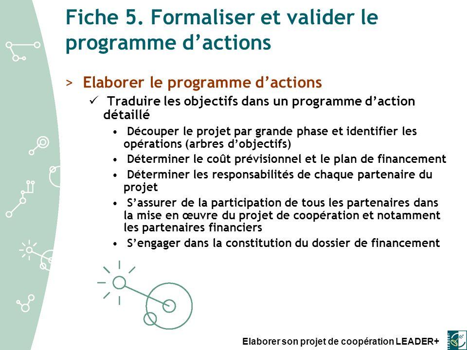 Fiche 5. Formaliser et valider le programme d'actions