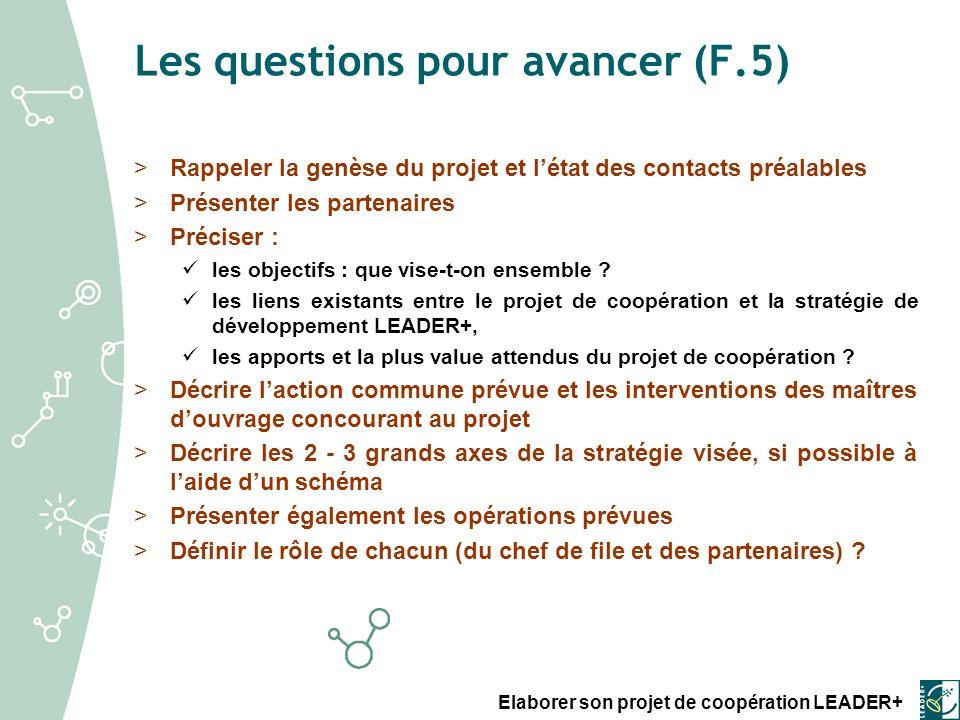 Les questions pour avancer (F.5)